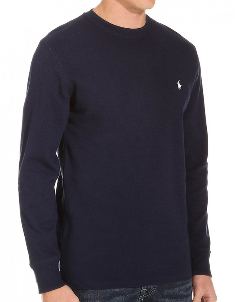 Cruise Navy Front Polo Ralph Lauren Long Sleeve Cotton Crew Neck Waffle Sleepwear