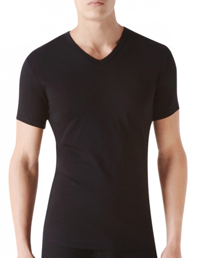 Black Front Calvin Klein 2-Pack Cotton Stretch S/S V-Neck T Shirt NB1179