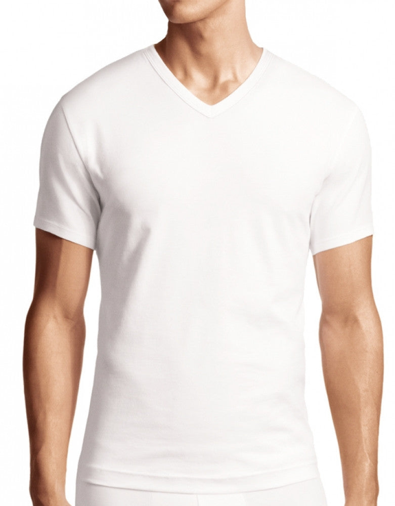 White Front Calvin Klein 2-Pack Cotton Stretch S/S V-Neck T Shirt NB1179