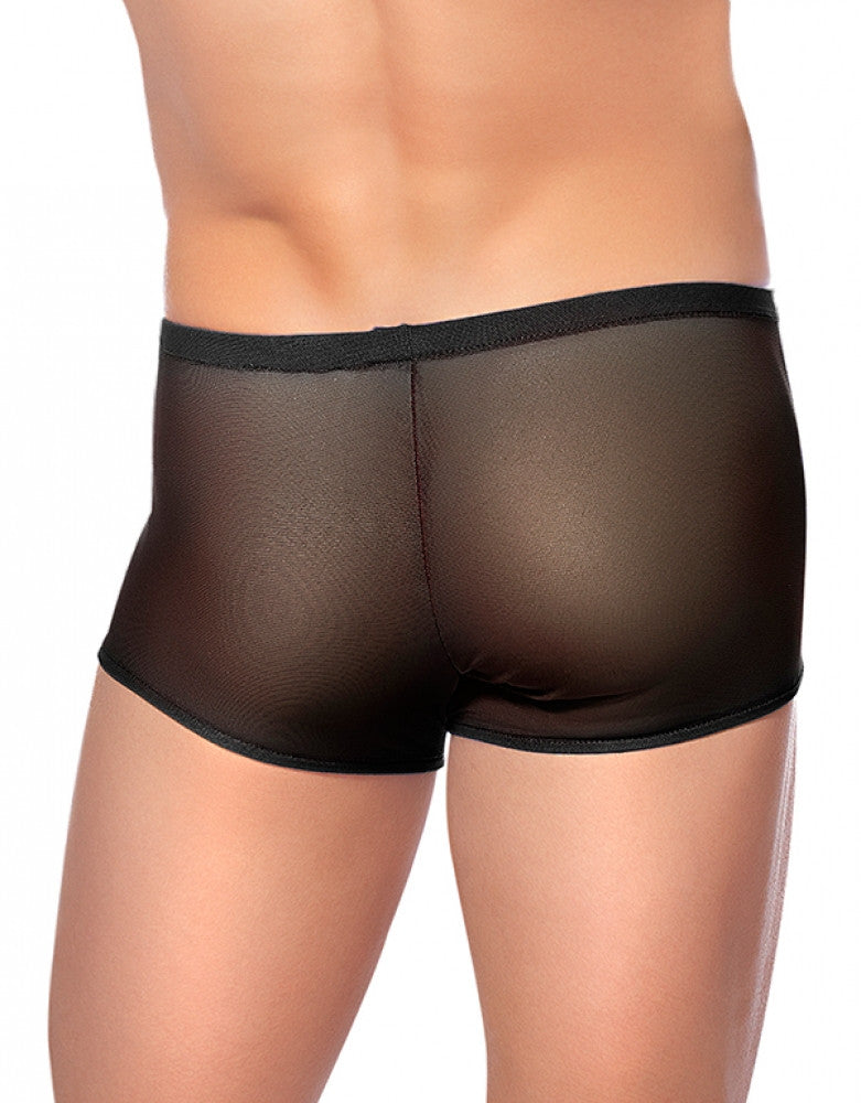 Black Back Male Power Pouch Short Mesh