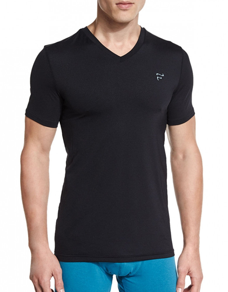 Black Front Frigo V-Neck Mesh T-Shirt