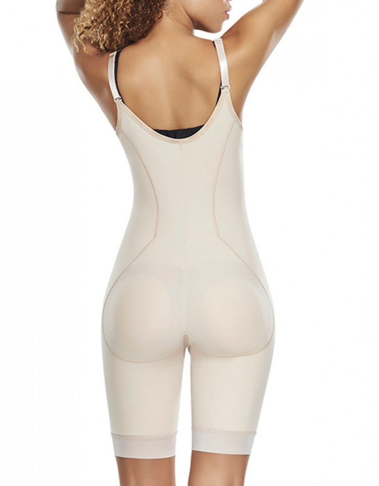 Natural Back Trueshapers Firm Control Open Bust Bodysuit with Removable Pads