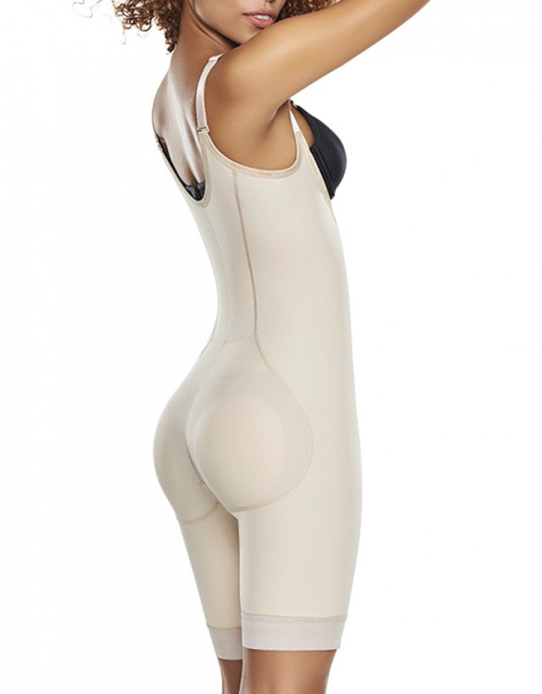 Natural Side Trueshapers Firm Control Open Bust Bodysuit with Removable Pads