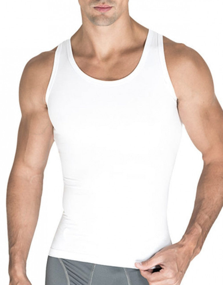White Front Rounderbum Cotton Compression Tank