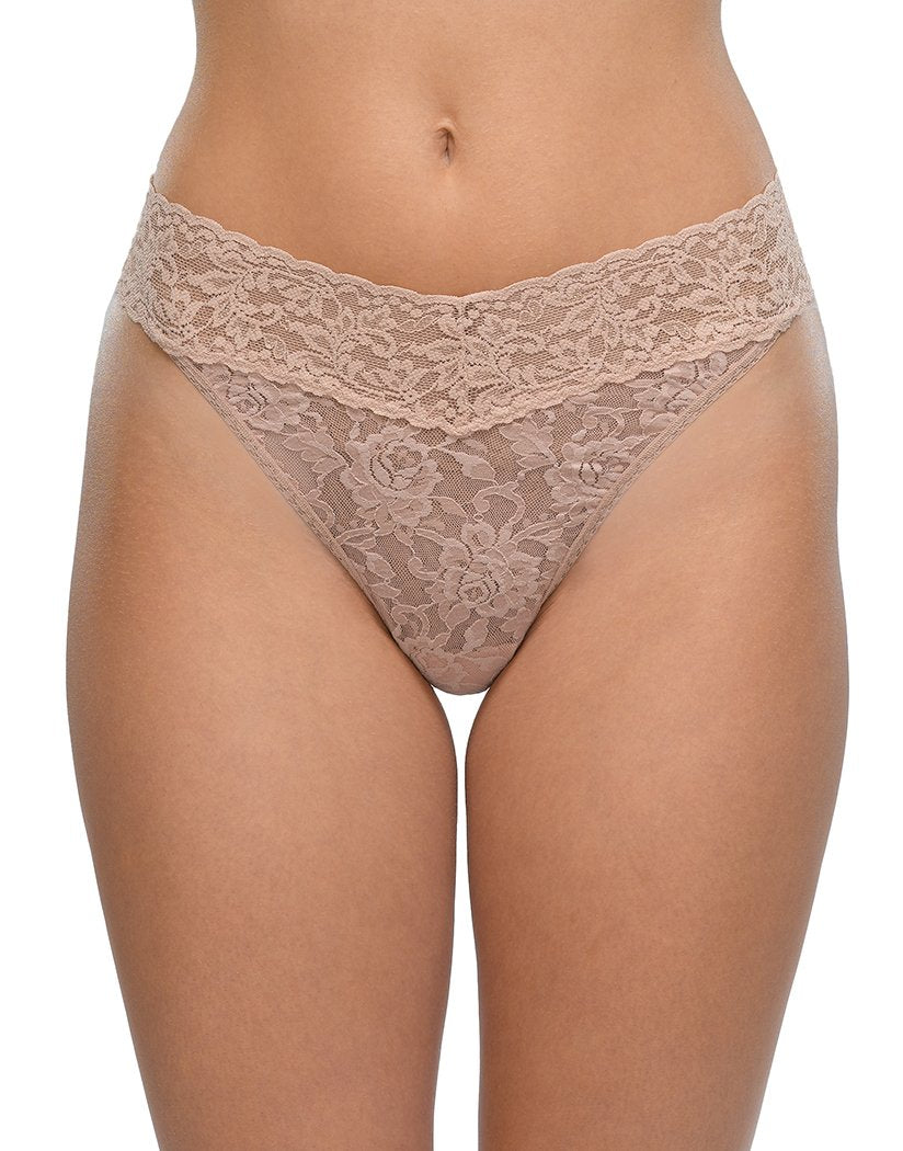 Taupe Front Hanky Panky Signature Lace Original Rise Thong Taupe 4811