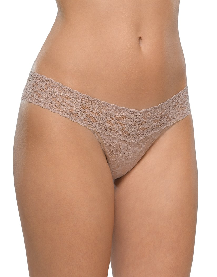Taupe Front Hanky Panky Signature Lace Low Rise Thong Taupe 4911