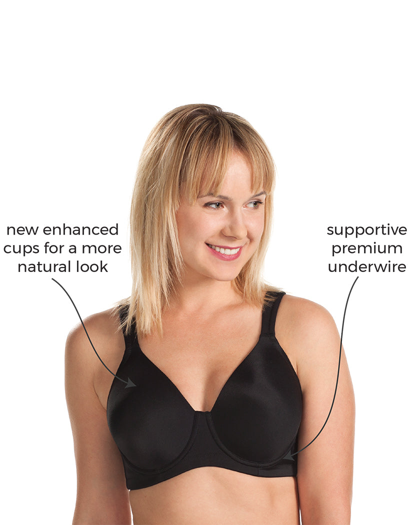 Black Front Leading Lady The Brigitte Full Coverage Wirefree Molded Padded Seamless Bra Black 5042