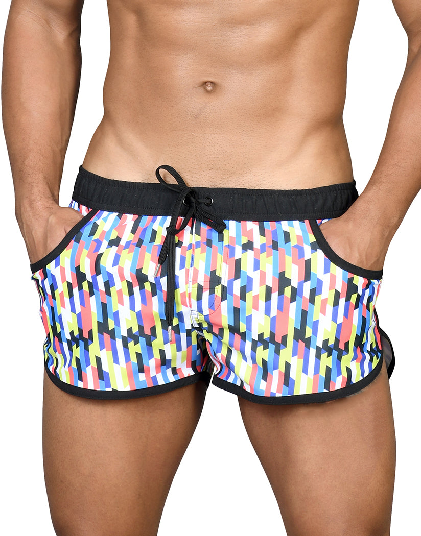 multicolored swim shorts for men