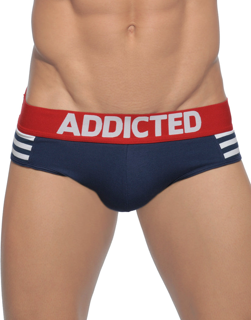 Navy Blue Front Addicted Sailor Stripes Brief
