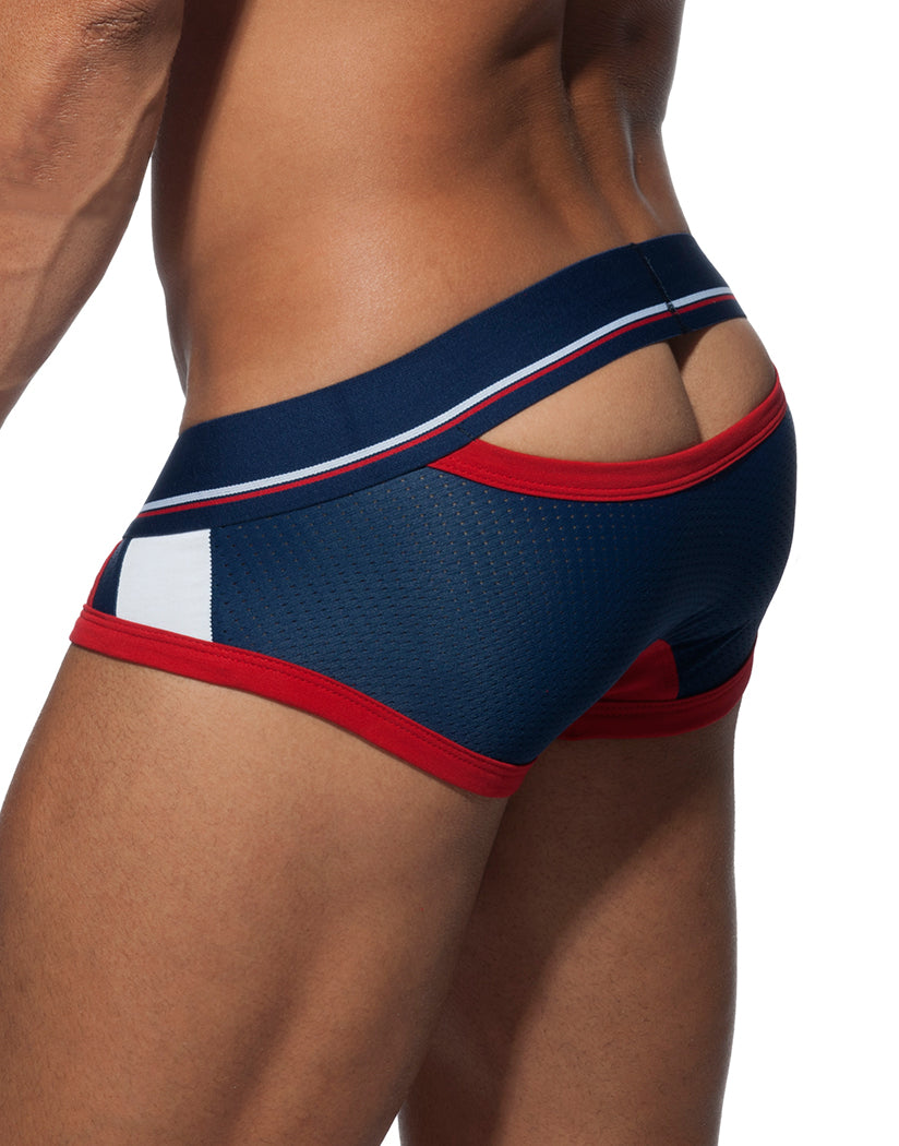 Navy/Red Back Addicted Open Back Sport Mesh Brief AD740