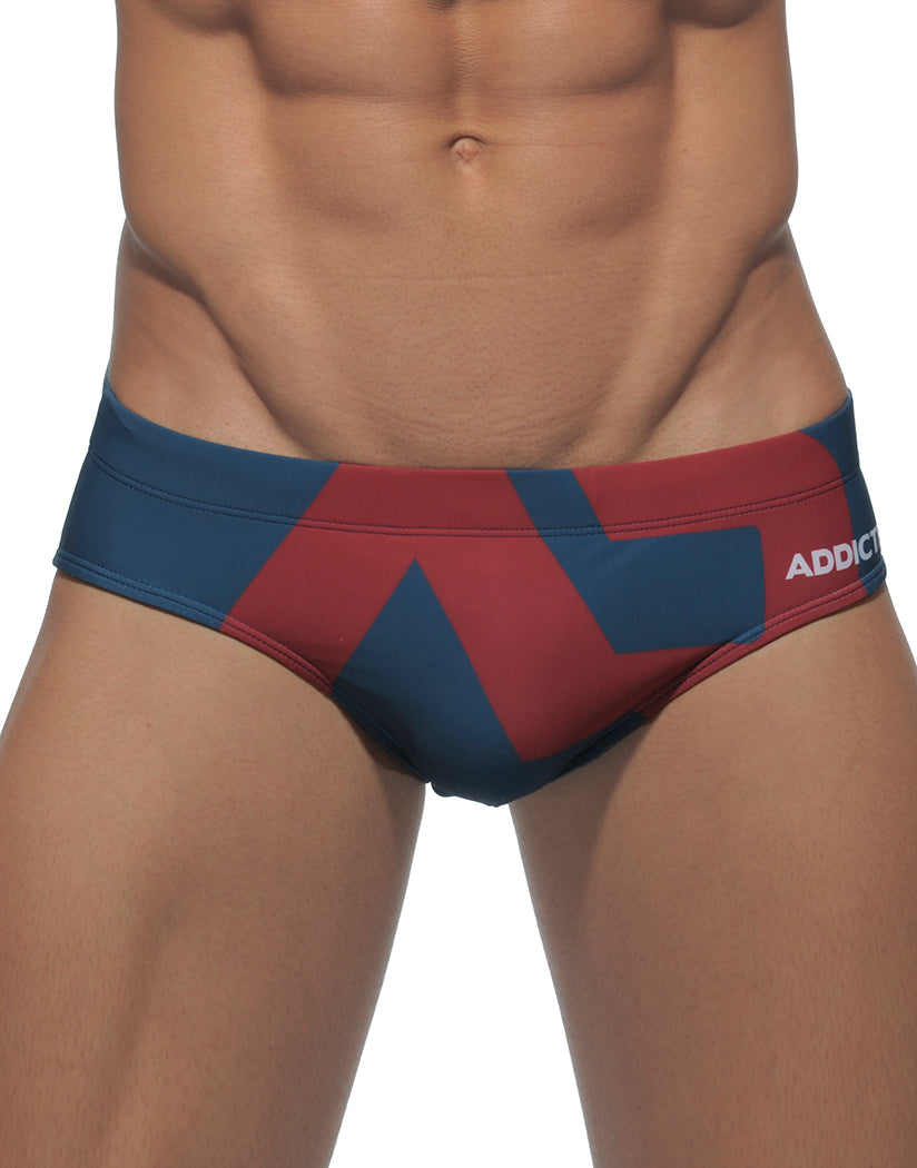 Navy Front Extra Large Logo Swim Brief Navy