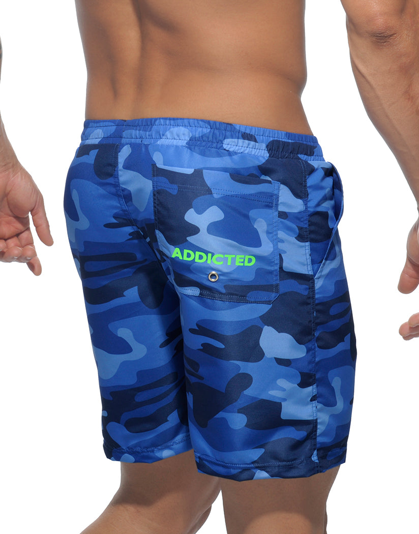 Navy Back Addicted Camouflage Long Swim Short