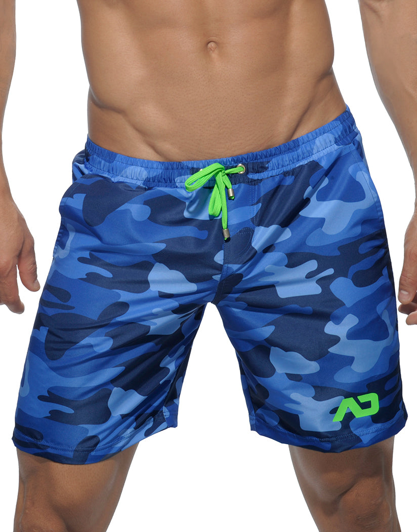Navy Front Addicted Camouflage Long Swim Short