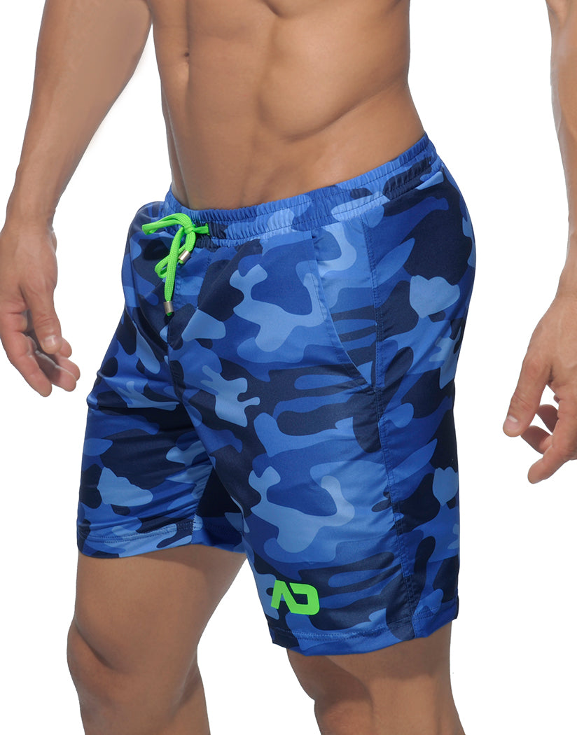 Navy Side Addicted Camouflage Long Swim Short