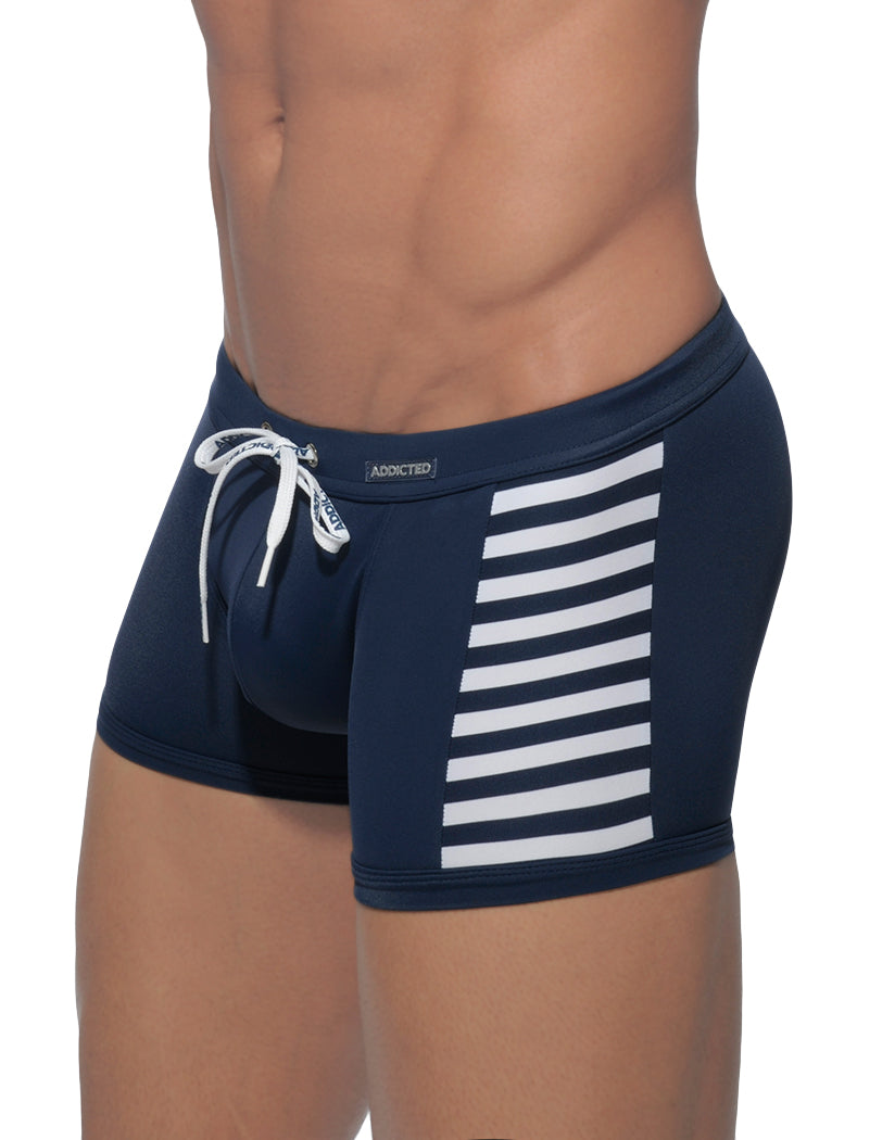 Navy Blue Side Addicted Colored Sailor Swim Boxer