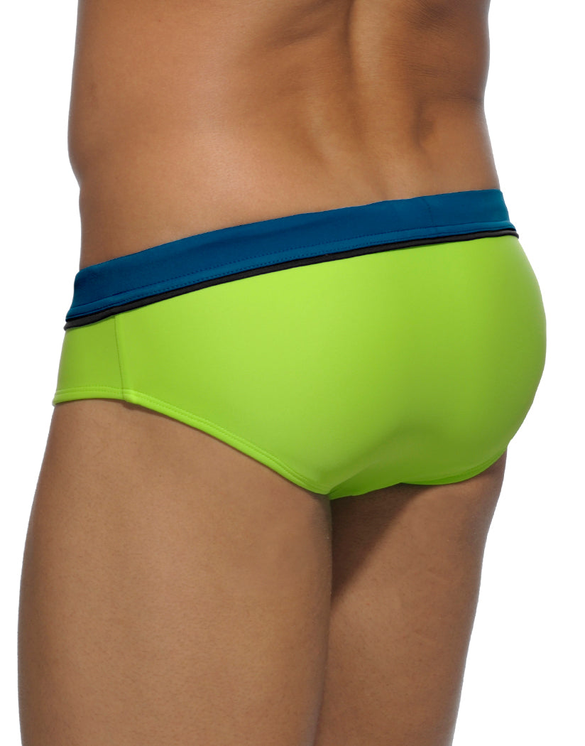 Green Back Addicted Swim Sport Detail Binding Brief ADS109