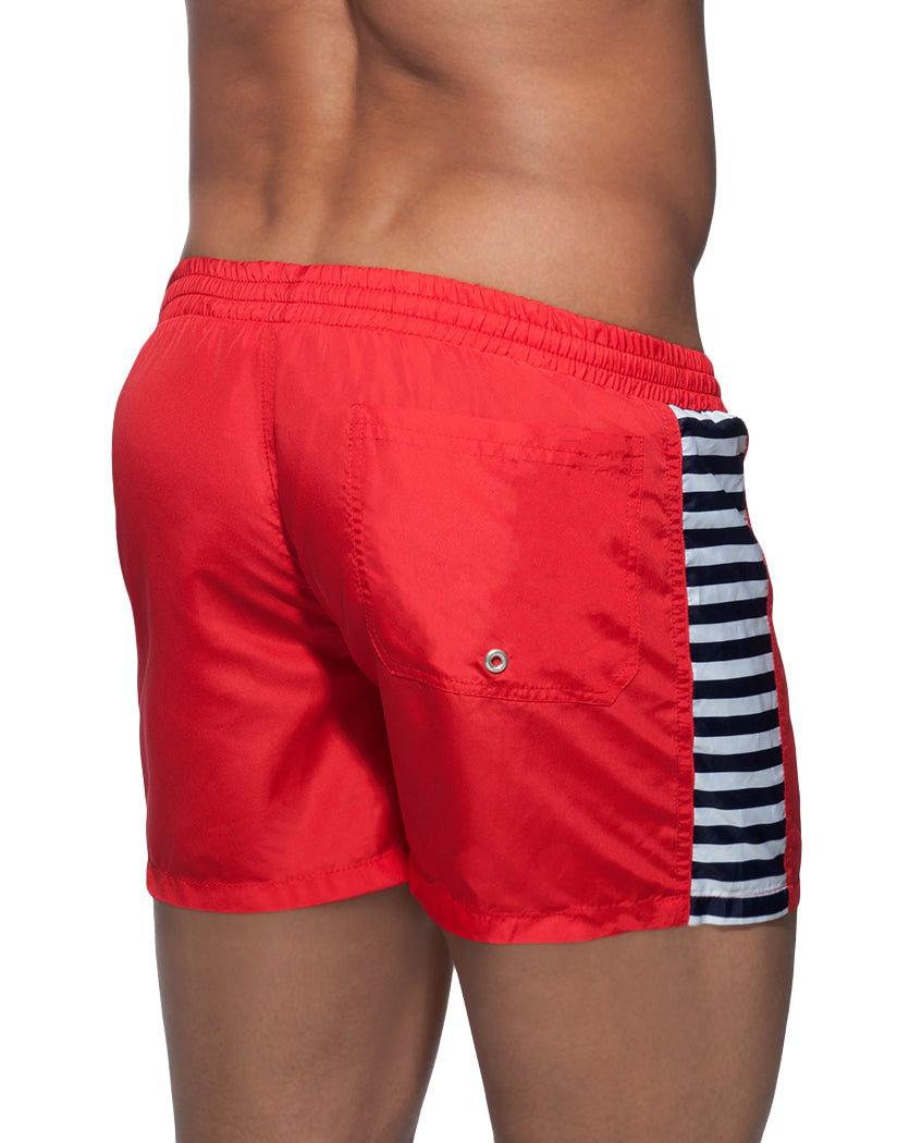 Red Back Addicted Sailor Mix Stripes Swim Short