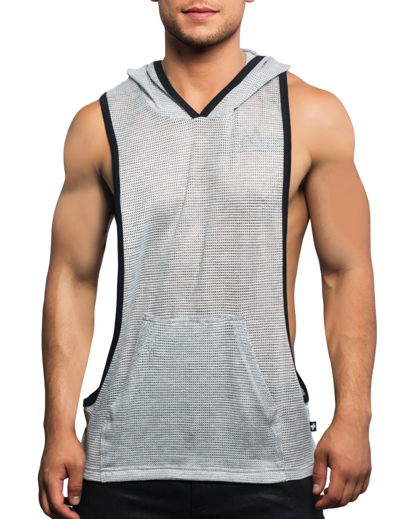 70731871e85f86 Heather Grey Front Andrew Christian Athletic Sleeveless Mesh Gym Hoodie  Heather Grey 2696