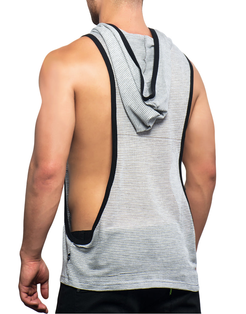 23b39545f58ee4 Heather Grey Back Andrew Christian Athletic Sleeveless Mesh Gym Hoodie  Heather Grey 2696