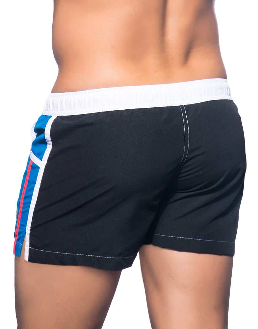 Black/Electric Blue Back Andrew Christian Navigator Swim Shorts