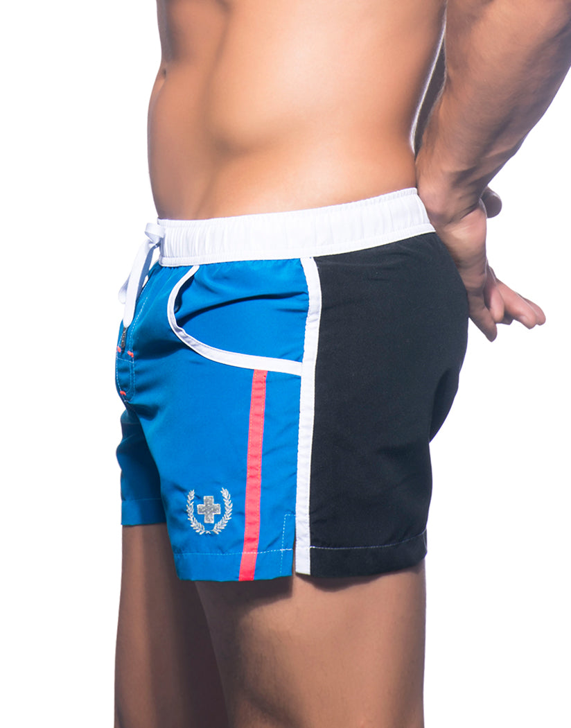 Black/Electric Blue Side Andrew Christian Navigator Swim Shorts
