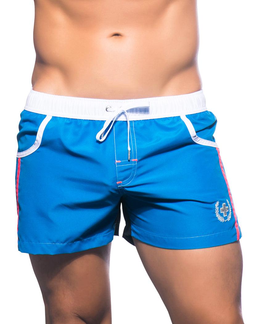 Black/Electric Blue Front Andrew Christian Navigator Swim Shorts