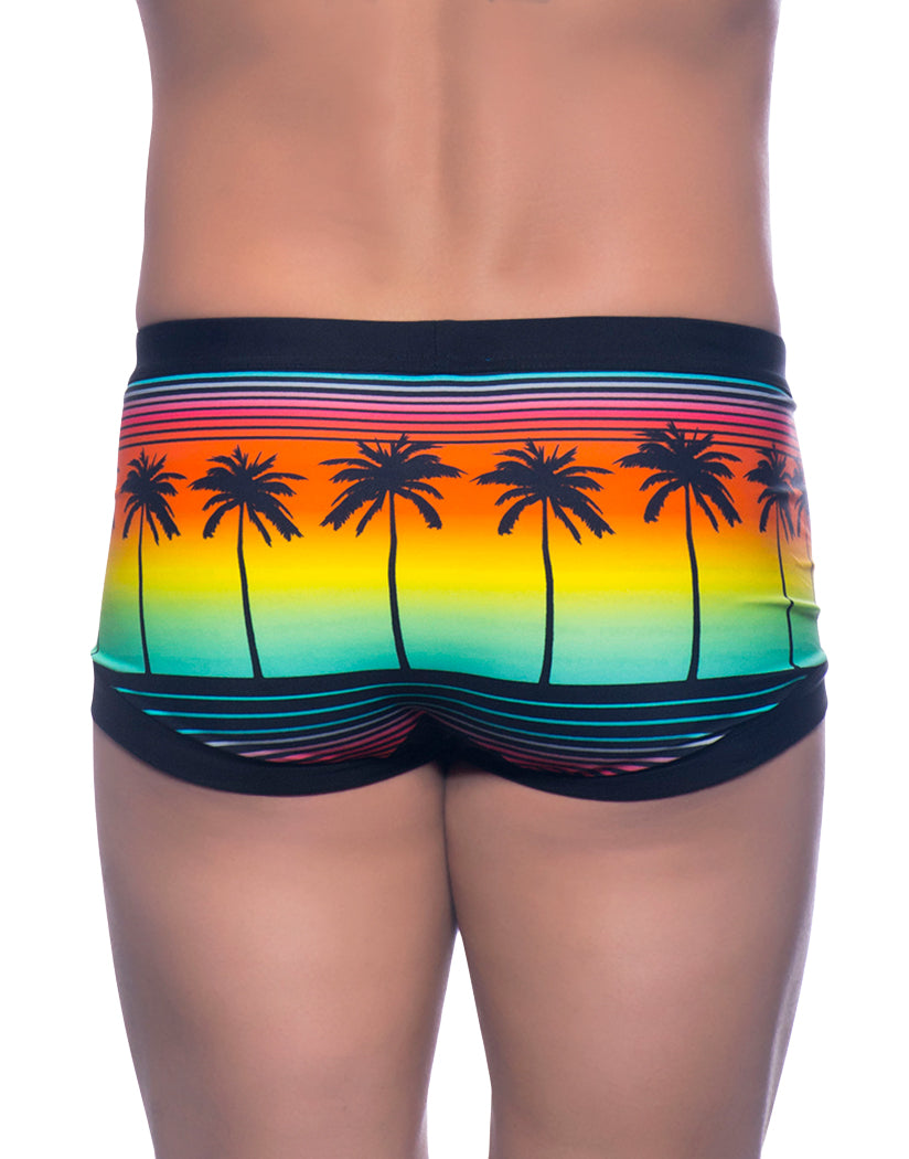 Sunset Palm Print Back Andrew Christian Sunset Palms Trunk