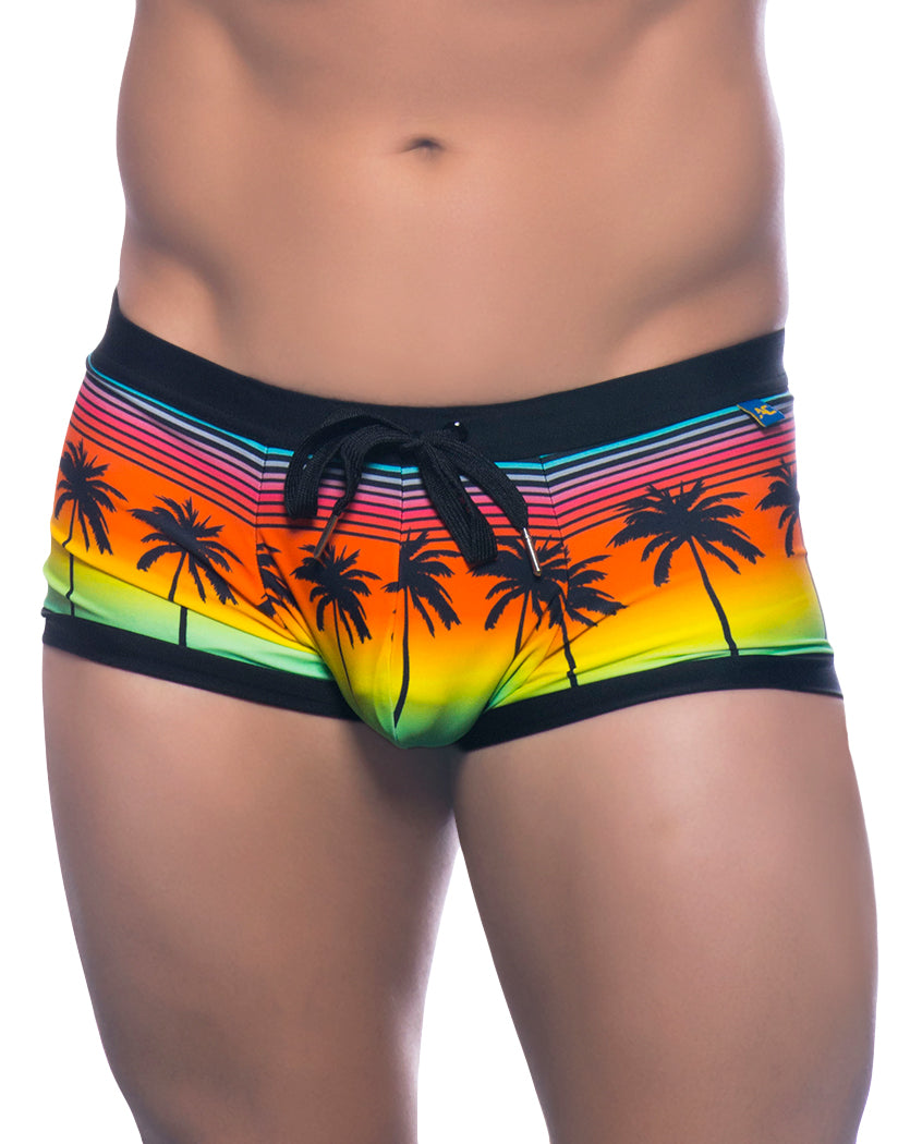 Sunset Palm Print Front Andrew Christian Sunset Palms Trunk