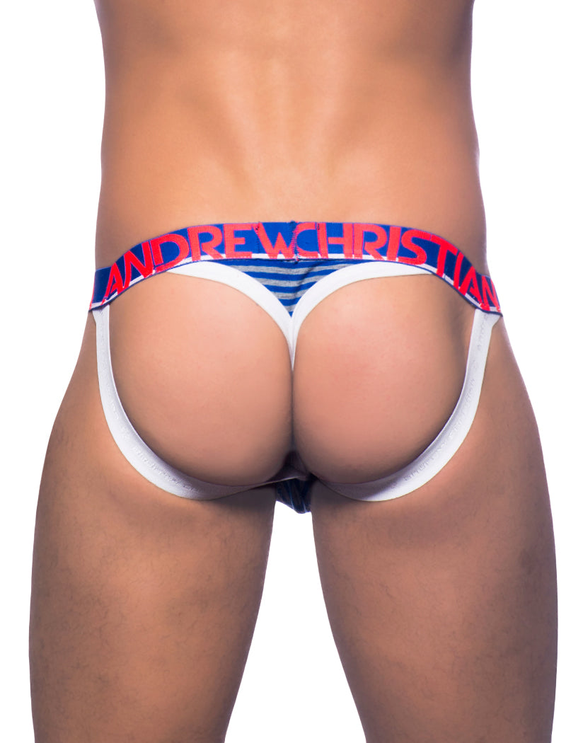 Royal/Heather Grey Back Andrew Christian Baseball Jock Thong Royal/Heather Grey