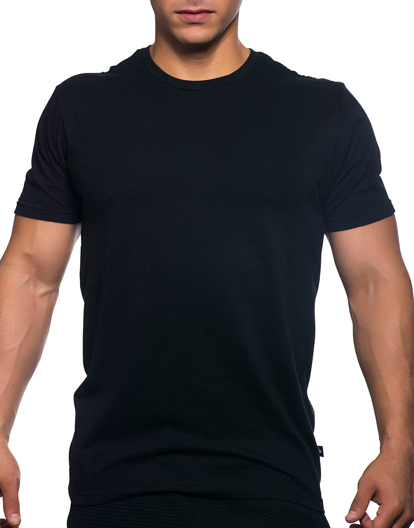Black Front Andrew Christian Happy Tagless Crew Neck Tee