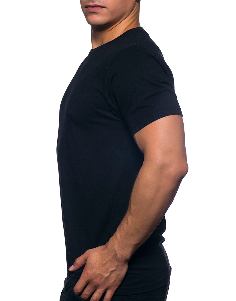 Black Side Andrew Christian Happy Tagless Crew Neck Tee