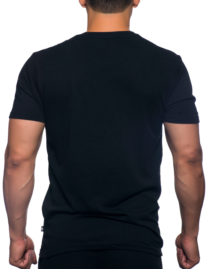 Black Back Andrew Christian Happy Tagless Crew Neck Tee