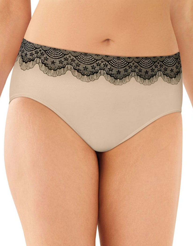 Nude w/ Black Lace Front Bali One Smooth U All-Around Smoothing Hi-Cut Brief Panty 2362
