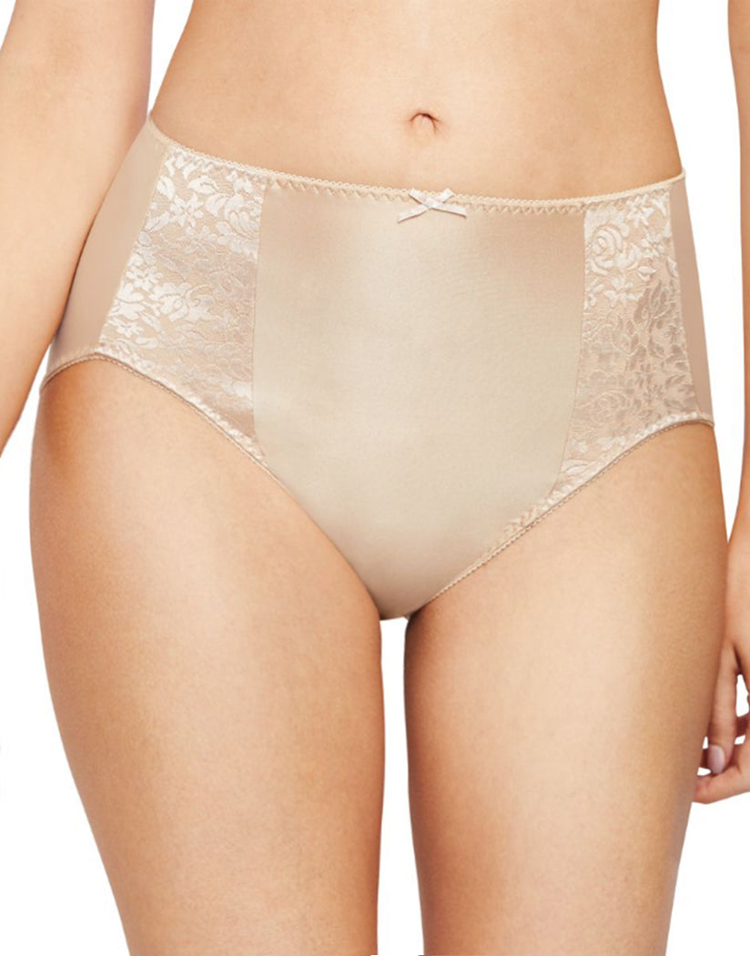 Soft Taupe Front Bali Double Support Moisture Wicking No Show Hi Cut Brief Panty DFDBHC