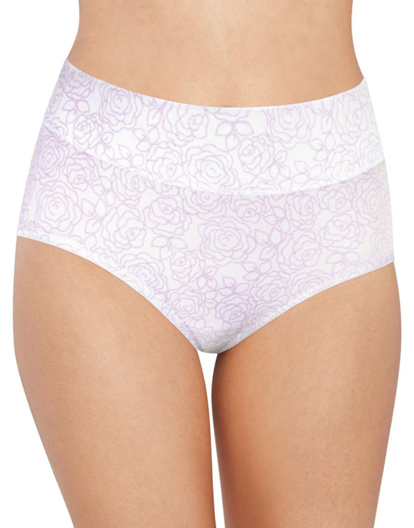Lilac Rose Link Print Front Bali Passion for Comfort Lace No Show Brief Panty DFPC61