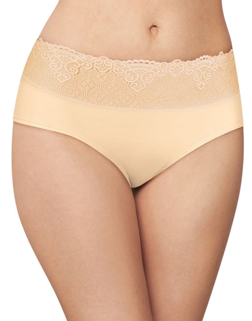 Soft Taupe Lace Front Bali Passion for Comfort Lace No Show Hipster Panty DFPC63