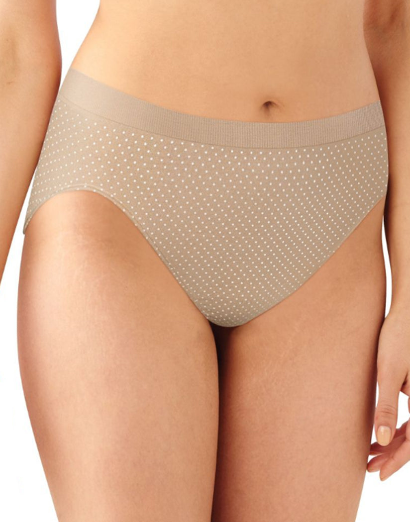 Nude/Light Beige/Nude w White Dot Front Bali Comfort Revolution Microfiber Seamless No Show Hi Cut Brief Panty 3 Pack AK83