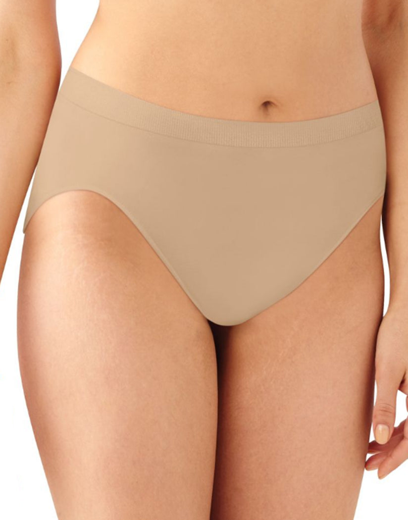 Nude/Nude/Nude Front Bali Comfort Revolution Microfiber Seamless No Show Hi Cut Brief Panty 3 Pack AK83