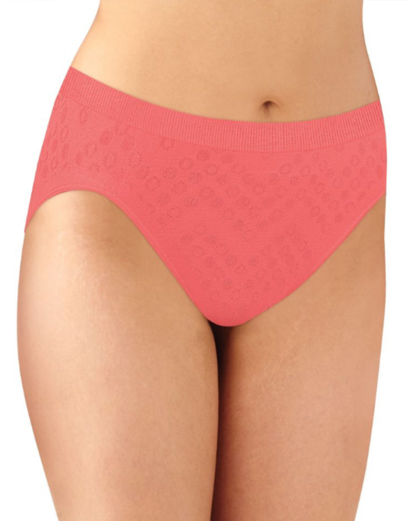 Teal/White/Coral Punch Dot Front Bali Comfort Revolution Microfiber Seamless No Show Hi Cut Brief Panty 3 Pack AK83