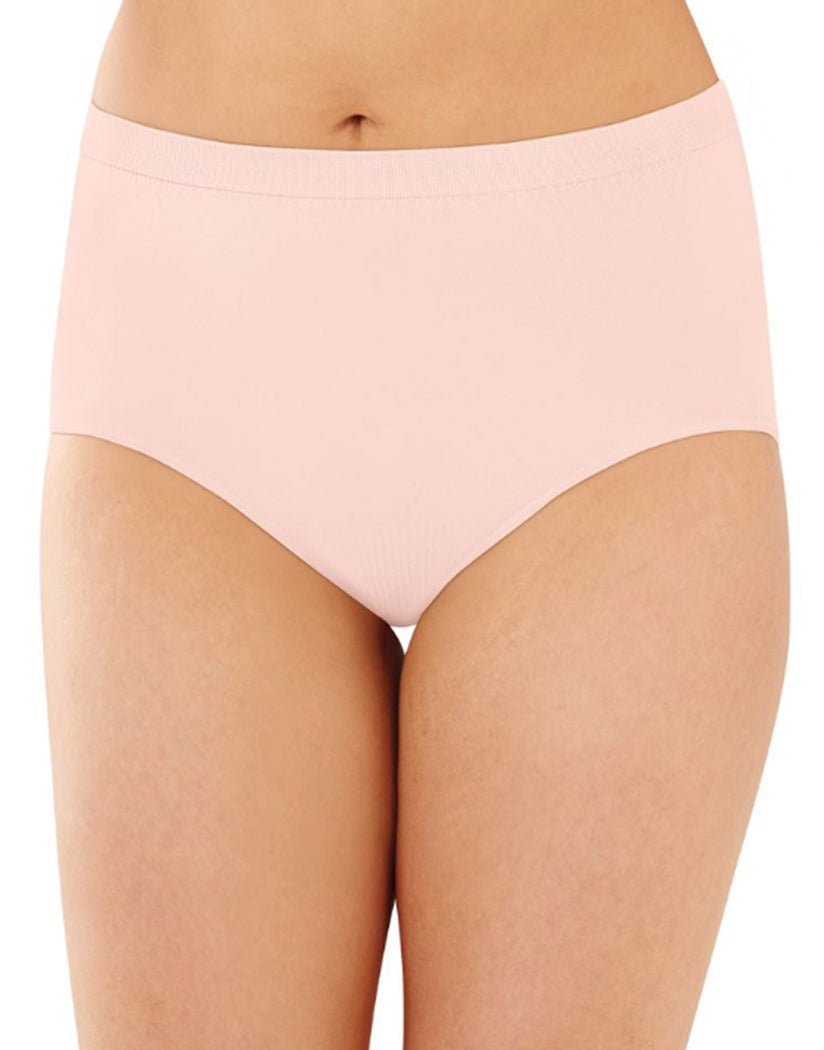 Nude/Warm Steel/Pink Sands Front Bali Comfort Revolution Microfiber Seamless No Show Brief Panty 3 Pack AK88