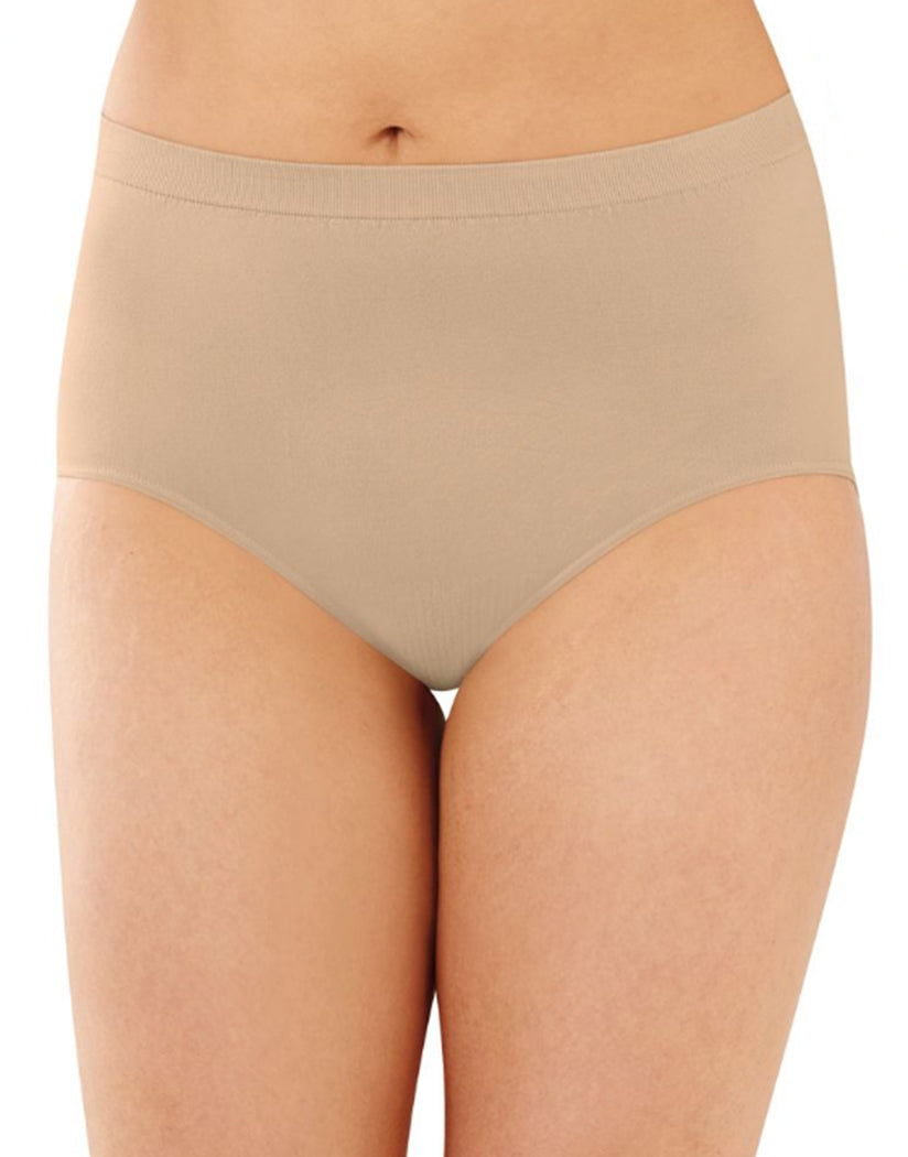 Black/Nude/Light Beige Front Bali Comfort Revolution Microfiber Seamless No Show Brief Panty 3 Pack AK88