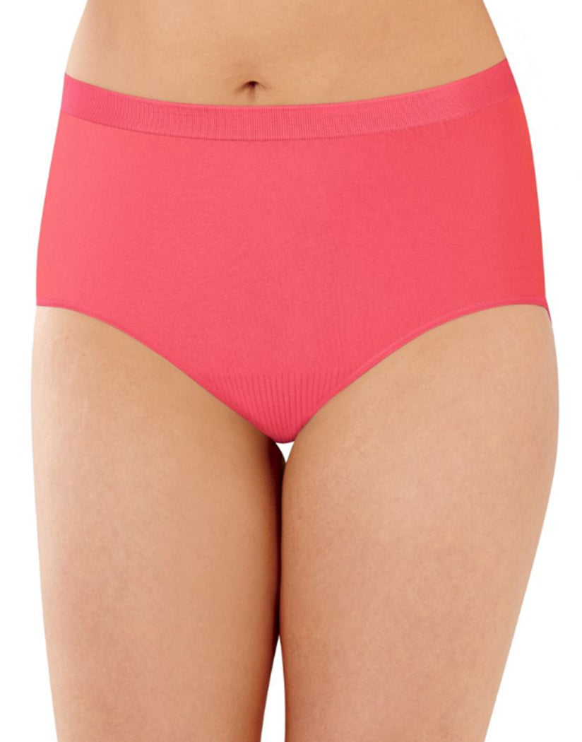 Country Spearmint/White/Pinky Peach Front Bali Comfort Revolution Microfiber Seamless No Show Brief Panty 3 Pack AK88