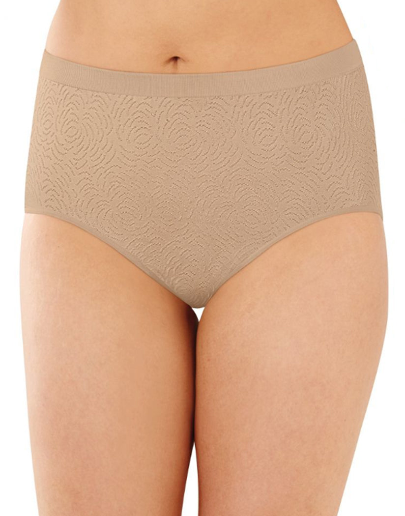 Light Beige Damask/White Damask/Nude Damask Front Bali Comfort Revolution Microfiber Seamless No Show Brief Panty 3 Pack AK88
