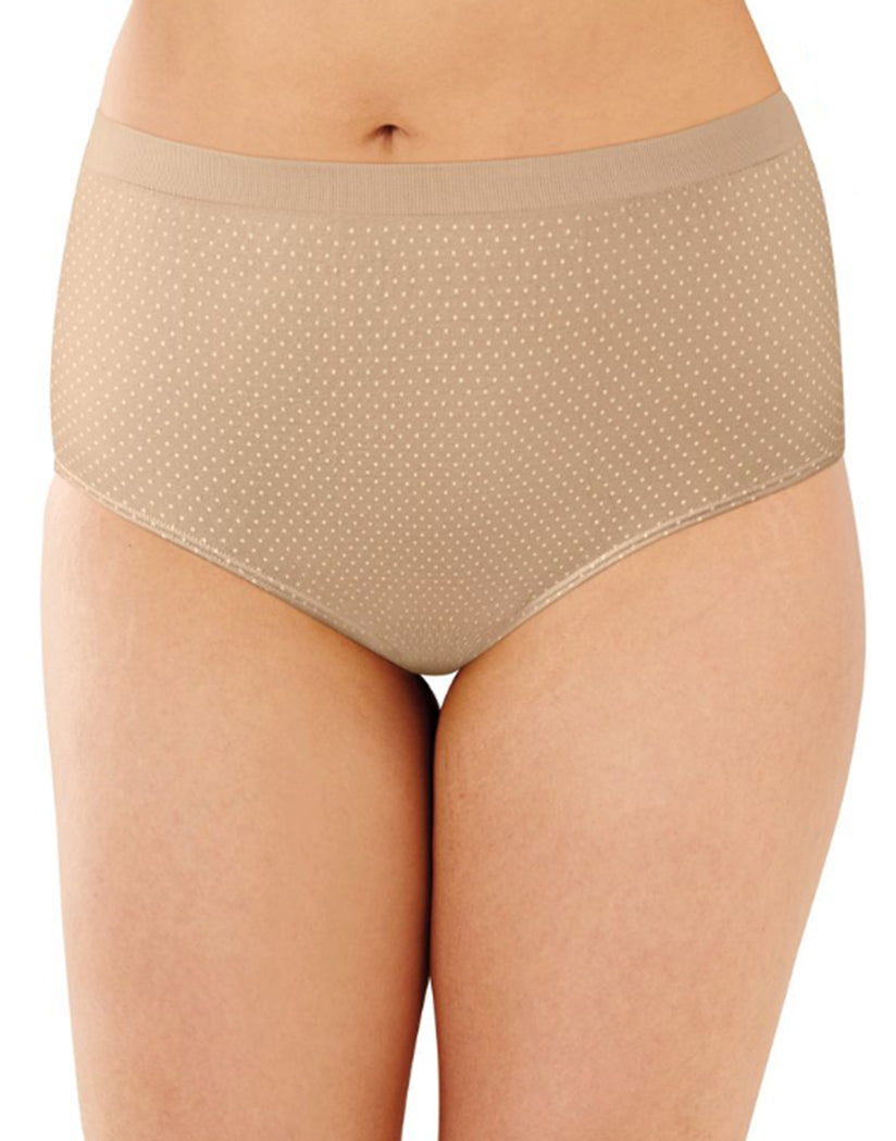 Nude/Light Beige/Nude w White Dot Front Bali Comfort Revolution Microfiber Seamless No Show Brief Panty 3 Pack AK88