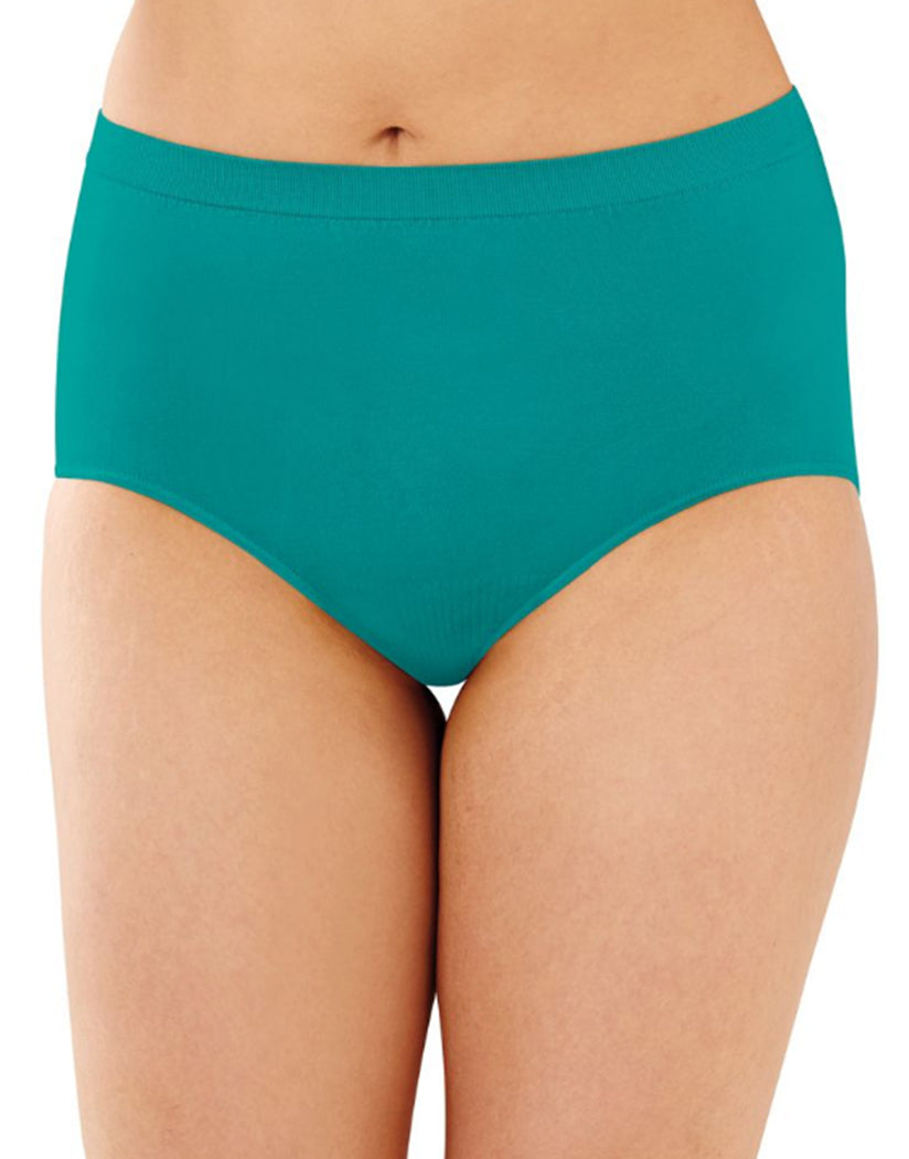 Teal/White/Coral Punch Dot Front Bali Comfort Revolution Microfiber Seamless No Show Brief Panty 3 Pack AK88