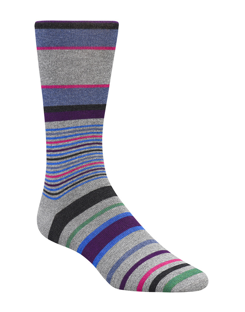 Cement Front Bugatchi Bands & Stripes Mid Calf Cashmere Sock KB6503