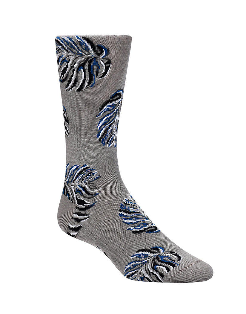 Steel Front Bugatchi Leaves Mid-Calf Sock Steel LB7049