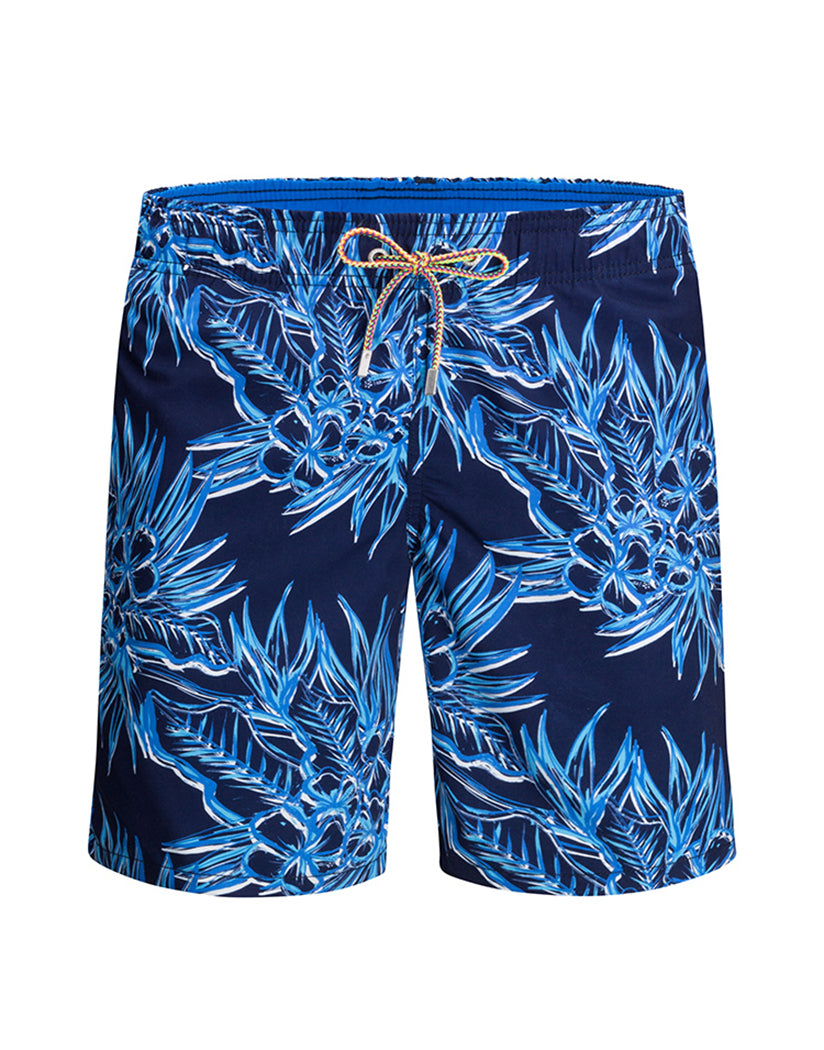 ca21c8ee05 Navy Front Bugatchi Navy Leaves Swim Trunks LXM540M12