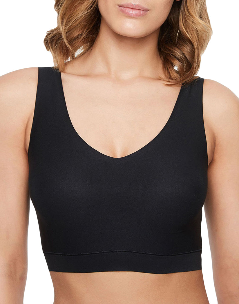 Black Front Chantelle Soft Stretch Padded V-Neck Bra Top 16A1