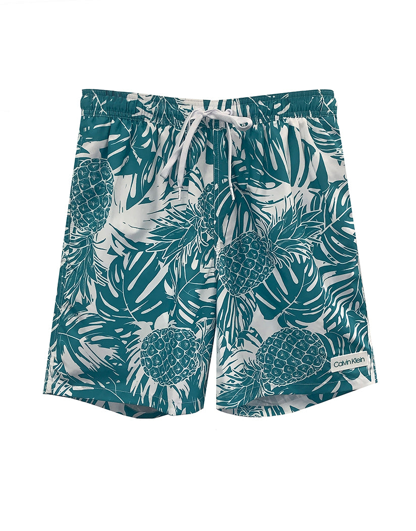 teal and white pineapple print swim shorts fro men